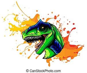 animální, kreslení, head., ilustrace, vektor, allosaurus