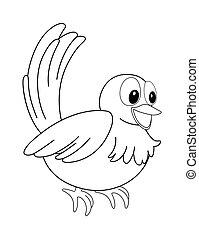 animální, nárys, jako, maličký, ptáček