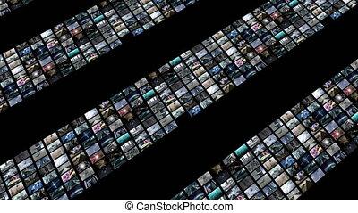 animé, écran visuel, augmenter, 4k, mur vert