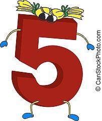 animé, 5, rigolote, 3d, rouges, nombre