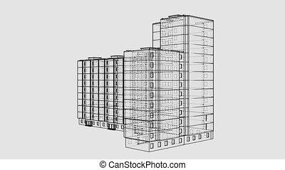 animé, concept, bâtiment., multi-storey, architectural, rotation