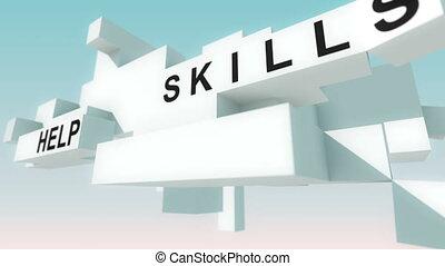 animé, entraînement, cubes, mots, business