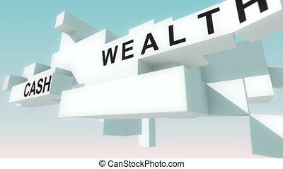 animé, investissement, mots, cubes