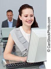 animé, professionnels, travailler, ordinateurs