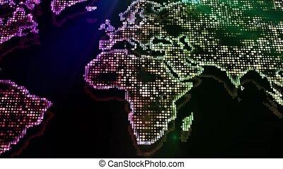 animé, projet, carte, map., présentation, particles., business, fond, mondiale, incandescent, effets