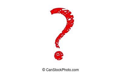 animé, question, rouges, marque