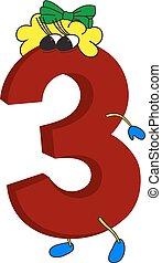 animé, rigolote, 3, 3d, rouges, nombre