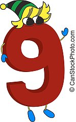 animé, rigolote, 3d, 9, rouges, nombre