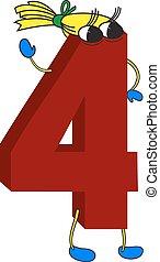 animé, rigolote, 3d, rouges, 4, nombre