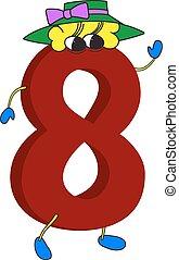 animé, rigolote, 3d, rouges, 8, nombre
