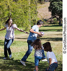 animé, rugby, jouer, famille