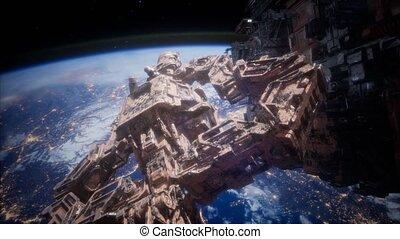 animé, station, espace, voler