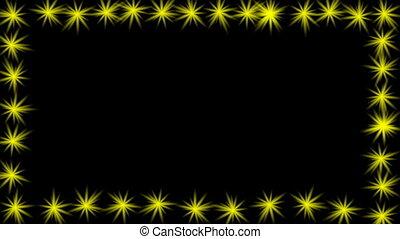 animé, texte, propre, vidéo, annonce, edge., cadre, étoiles, jaune, clignotant, vide, titre