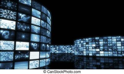 animé, vidéo, 3d, loop-able., wall., rendre, divertissement, 4k, dérouler