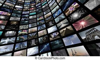 animé, vidéo, 4k, rotating., loop-able, mur