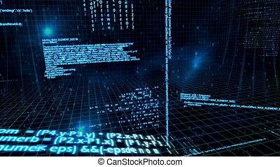 animação 3d, aproximadamente, rede, dados, flo