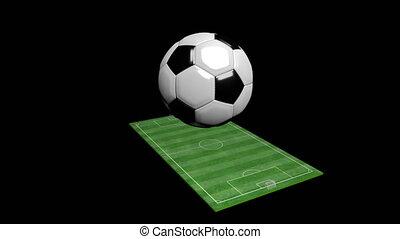 animação 3d, futebol, campo verde, e, bola, girar, com, alfa, matte