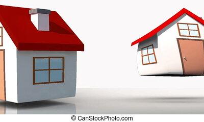 animação, de, branca, casas, aparecer
