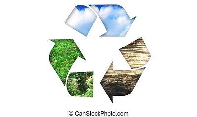 animação, de, um, recicle, icon., conceito, de, ecologia