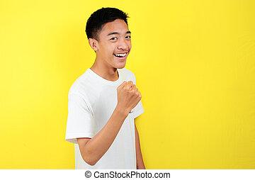 animado feliz, ganhar, celebrando, sucedido, expressar, homem, gesture., asiático, jovem