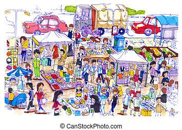 animado, y, colorido, mercado de pulgas, en, asia