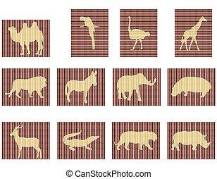 animais, áfrica, mosaico