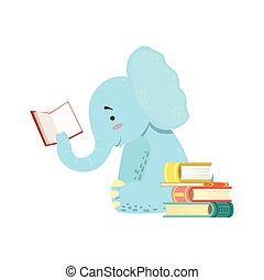 animais, biblioteca, personagem, bookworm, jardim zoológico, parte, ilustração, elefante, cobrança, sorrindo, livro leitura, caricatura
