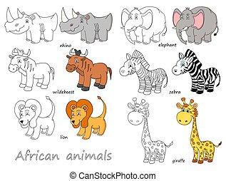 animais, colorido, ilustração, vetorial, africano, caricatura, esboço