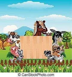 animais, com, um, sinal branco, madeira, tábua