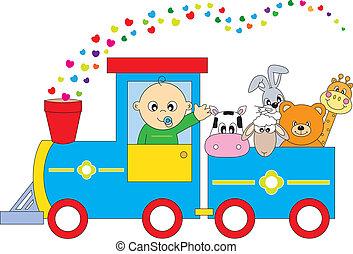 animais, crianças, trem