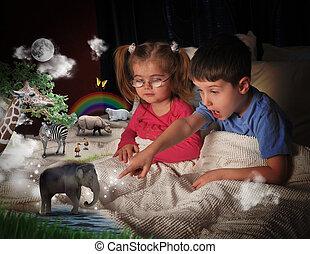animais, em, tempo cama, com, crianças