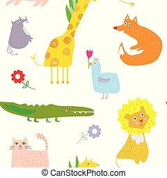 animais, engraçado, desenho, seamless, padrão