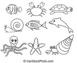 animais, escudo mar