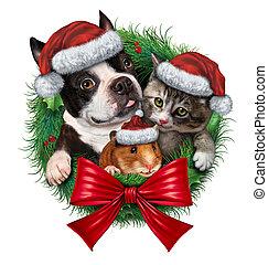 animais estimação, grinalda feriado