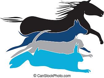 animais estimação, logotipo, vetorial