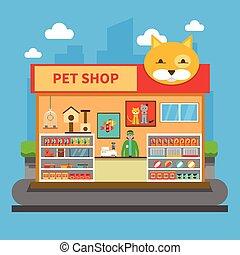 animais estimação, loja, conceito