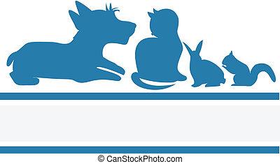 animais estimação, veterinário, companhia, logotipo