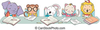 animais, estudante, classe, borda