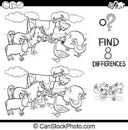 animais, fazenda, diferenças, cor, livro, atividade