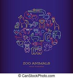 animais, forma, néon, redondo