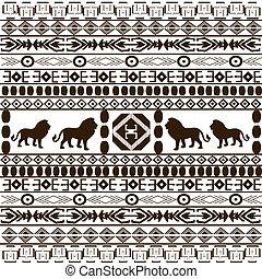 animais, fundo, africano, silhuetas, arabescos, étnico