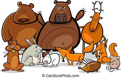 animais, ilustração, floresta, selvagem, grupo, caricatura