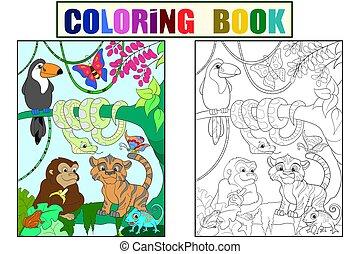 animais, ilustração, vetorial, floresta, caricatura, selva