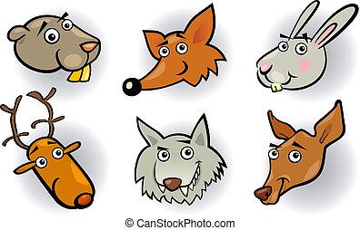 animais, jogo, cabeças, caricatura, floresta