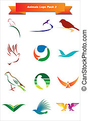 animais, logotipo, pacote, 2
