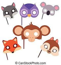 animais, máscara carnaval, vetorial, festival, decoração, mascarada, e, partido, traje, cute, caricatura, cabeça, decoração, celebração, illustration.