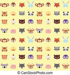 animais, máscara carnaval, vetorial, festival, decoração, mascarada, partido, traje, cabeça, decoração, celebração, seamless, padrão, fundo, illustration.
