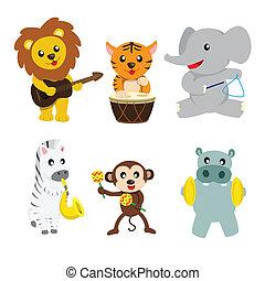 animais, música, tocando