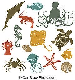 animais mar, e, peixe, ícones