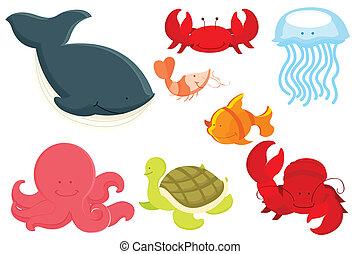 animais marinhos, caricatura